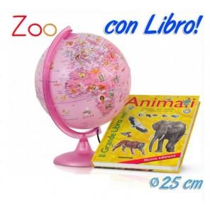MAPPAMONDO 25CM PINK + LIBRO ANIMALI