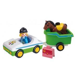playmobil 1, 2, 3 trasporto cavalli