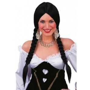 Parrucca nera con trecce